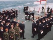 Remembrance for 9th HMSGloucester in theMediterranean off Crete