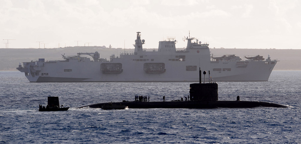 HMS Ocean watches over HMS Talent