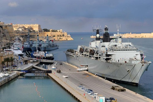 HMS Bulwark with HMS Argyll, HMS Somerset and FNS Dupleix berthed in background in Grand Harbour, Valletta