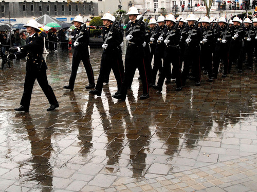 members of 40 Commando RM,marching through Casemate Square in the rain, at the freedom of Gibraltar Parade
