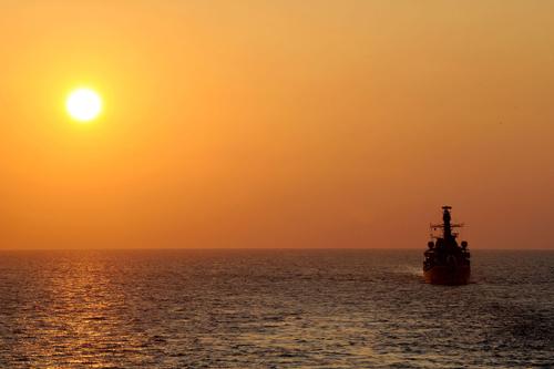 HMS Somerset in the Mediterranean sunset