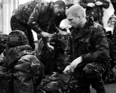 Marines undertaking their final preparations before they sail to the Mediterranean and Far East as part of the Royal Navy's Taurus 09 deployment