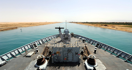 View from the bridge of HMS Bulwarkof the Suez Canal