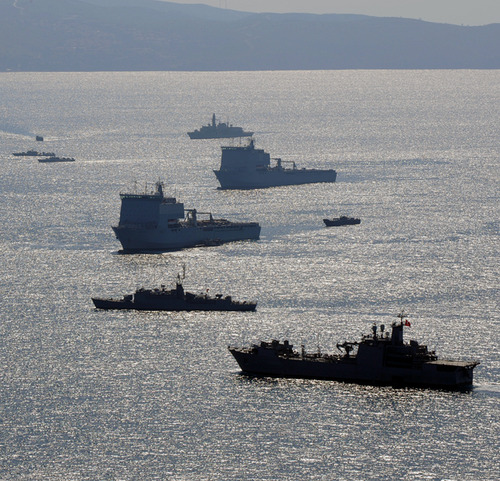 Task force of ships involving British,American,Dutch and Turkish Navies that have been playing a part in EX Egemen, in Doganbey in Turkey