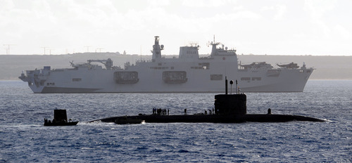 HMS Ocean and HMS Talent on Exercise Cyprus Wader