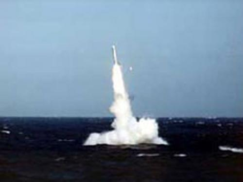 Tomahawk missile firing from a Royal Navy Submarine
