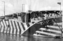 HMS Argus, the world's first aircraft carrier in dazzle camouflage
