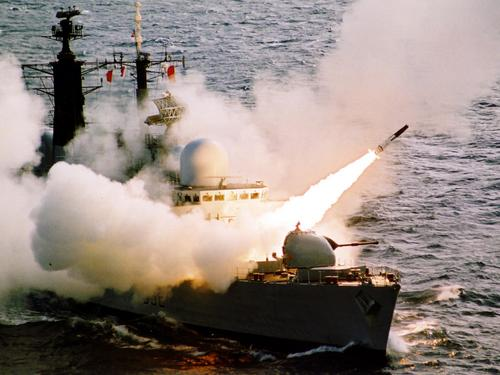 HMS Liverpool fires a Sea Dart missile salvo on 8 September 2002 whilst 250 miles south west of the Scilly Isles.