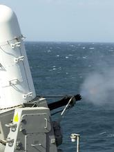 The Phalanx Close In Weapons System during a live firing