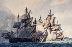 An engagement between HMS Bonne Citoyenne & French ship La Furieuse, 6 July 1809 (Royal Naval Museum)
