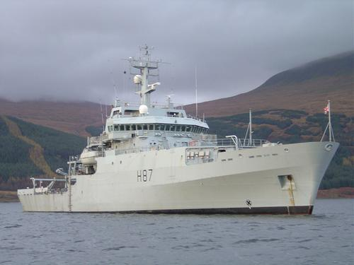 HMS Echo at anchor in Loch Scridain, Isle of Mull