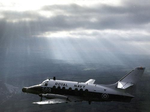 A Jetstream T2 of 750 Squadron, who train observers to become airborne warfare officers.