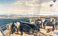 The Russian city of Sebastopol seen from the deck of HMS Sidon during the Crimean War (Royal Naval Museum)