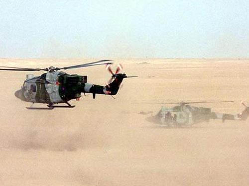Two Lynx Mk7s of 847 NAS at their FARP site during OP TELIC 2003