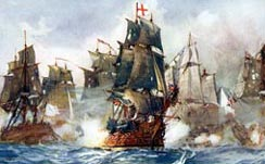 Rodney's Formidable breaking the French lines at Les Saintes, 1782