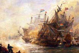 Battle of North Foreland, June 1653, the flagship of Admiral Tromp engages the British Ship James (Royal Naval Museum)