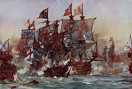 Revenge in her last fight off the Azores, 1591