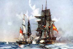 HMS Speedy, Cochrane's first ship, captures the Spanish frigate El Gamo, 1801