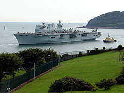 HMS Ocean passing the Longroom