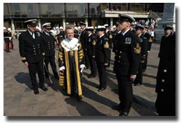 Petty Officer Andy Belfitt prepares to be inspected by the Lord Mayor of Portsmouth during The Freedom of the City of Portsmouth