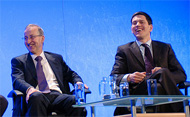 David Miliband and Peter Ricketts at the leadership conference