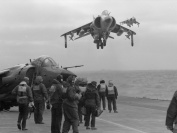 A Sea Harrier from 801 NAS returns to HMS Invincible during the Falklands Conflict