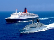 HMS Cornwall and Queen Elizabeth the second in Gibraltar Straits