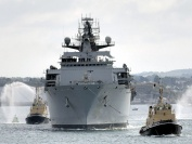 HMS Bulwark as she returns to Plymouth from deployment in the troubled waters of Iraq, Somalia and Lebanon - which was the last phase of her trip to help UK citizens leave War torn Lebanon.