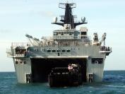 Landing Craft Utility entering the dock on HMS Bulwark