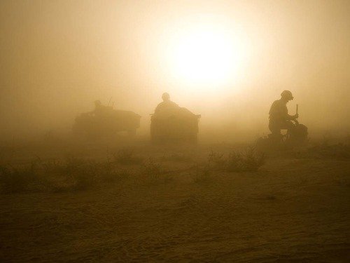Royal Marines being picked up whilst on patrol in Helmand province.