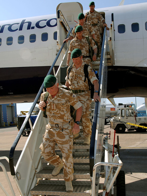 Brigadier Gordon Messenger, returned from Afghanistan this afternoon with 121 of his personnel to a hero's welcome at Exeter Airport. Admiral Sir Mark Stanhope, Commander in Chief Fleet, met the Brigadier and his men at the aircraft steps to congratulate them on a job well done,