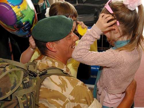 Royal marines returned from Afghanistan this afternoon to a hero's welcome at Exeter Airport.
