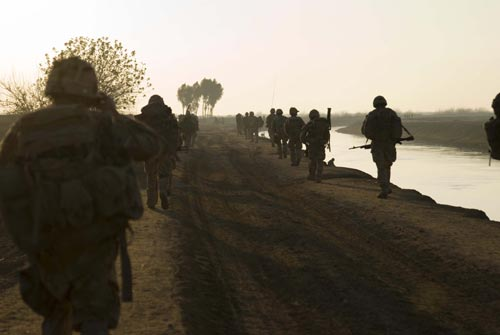 British troops from Lima Company, 42 Commando Royal Marines, carry out operations in the Helmand province of southern Afghanistan to bring security to the surrounding areas