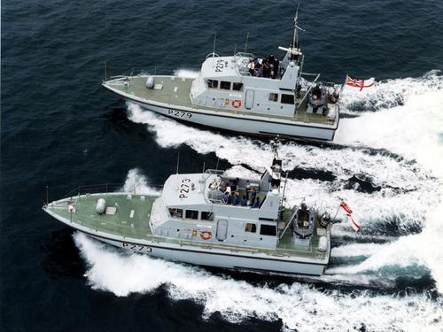 HMS Blazer and HMS Pursuer working together on an exercise.