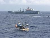 RFA Wave Ruler with fishing boat Oliana 1