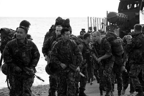 40 Commando Royal Marines disembarking from a landing craft