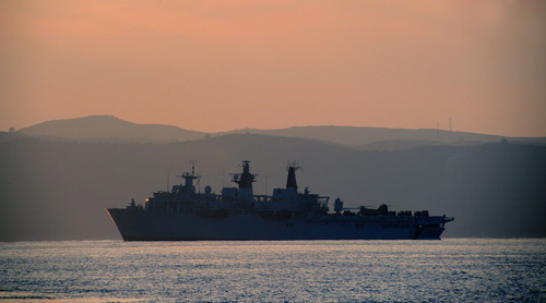 HMS Bulwark in Dogenbey supporting the landing forces ashore
