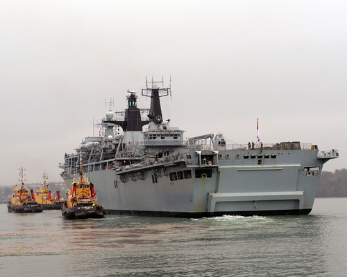 HMS Bulwark sailing from her home port of Devonport to spearhead one of the Royal Navy's largest deployments Taurus 09