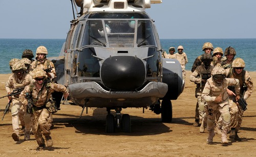Saudi Navy BlackHawk inserts Royal and Saudi Marines ashore