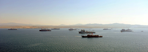 Task force of ships and Marines involving British,American,Dutch and Turkish Navies that have been playing a part in EX Egemen, in Doganbey in Turkey