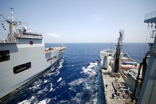 HMS Ocean and RFA Wave Ruleron TAURUS 09