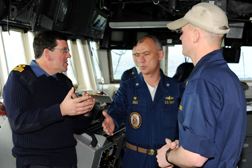 Commodore Hudson, Commodore Amphibious Task Group(COMATG) onboard USS Mitsher, meeting the crew onboard in the Bay of Biscay during Taurus 09