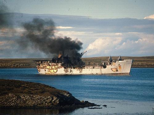 RFA Sir Galahad on fire