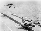 Harriers coming in to land on HMS Hermes