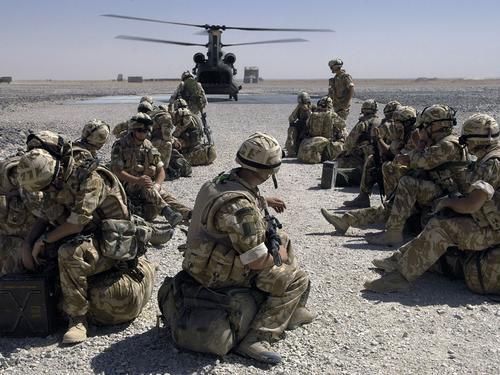 J Company 42 Commando Royal Marines Royal Marines of J Company await the move by CH 47 from Camp Bastion to the Forward Operating Base in Gereshk