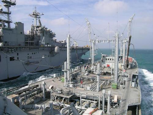 RFA Bayleaf RAS with USS Boxer