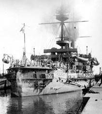 Sailors on the stern of thebattleship HMS Illustrious, 1890's