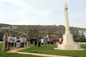 Members of HMS Bulwark pay their respect to servicemen who were killed in the second world war, by laying a wreath at the War cemetry in Souda Bay Crete