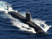 HMS Talent heads through the Red Sea