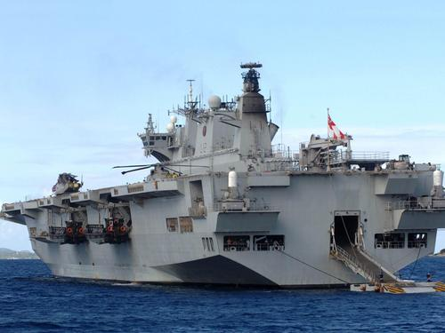 HMS Ocean at anchor off Tortola, British Virgin Islands